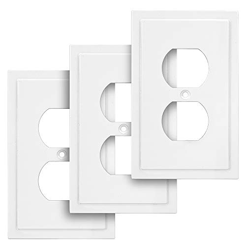 Harmon Designs Modern Edge Switch Plate/Wall Plate/Outlet Cover (Single Duplex 3PK, White)
