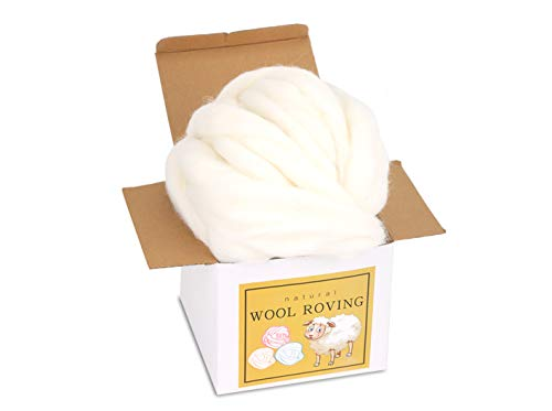 Wool Roving Bulk - 8.82oz Super Wool Chunky Yarn, Wool Roving Top for Needle Felting, Soft Felting Wool Supplies for Hand Spinning, Felting, Blending, Weaving and DIY Craft