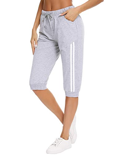 Doaraha Pantalones Pirata de Running Mujer Pantalón Capri Pants Deportivos 3/4 Capris Chándal Cintura Alta con Bolsillo para Deporte Yoga Fitness Correr Entrenamiento (Gris, M)