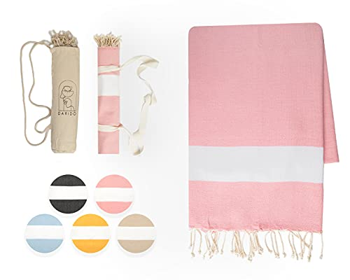 DARIDO Diamond Fouta Hammam Towel Beach Towel - Toalla de playa (XXL, 100 x 200 cm, 100% algodón, hecha a mano, ligera, suave, absorbente, manta para camping, manta para picnic), color rosa
