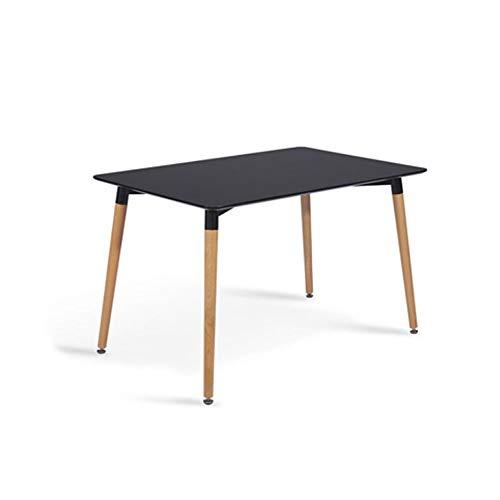 Modern houten tafel, rechthoek eettafel met metalen poten, met anti-slip voet pad, voor Dining Room Kitchen Furniture,Black