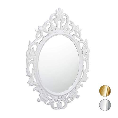 Relaxdays, Bianco Vintage Barocco, Ovale da Parete, Specchio Antico, Design Moderno, PP, Vetro, Cartone, 84 x 57 x 3 cm