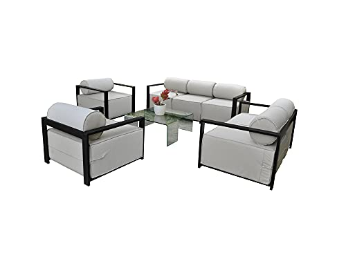 Solis Patio Solis Volantes Outddor Deep Seated 4 Piece Set Sofa, Loveseat, Lounge Chair, Black, Sage