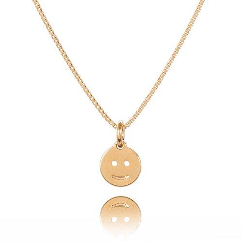 Malaika Raiss Halskette Damen Kleiner Runder Smiley-Anhänger 24 Karat vergoldet - N3178