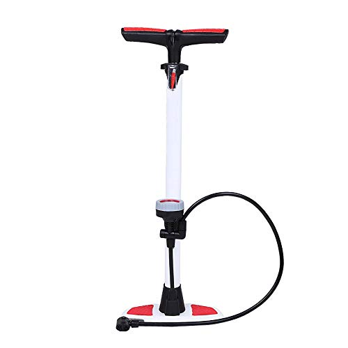 Portable Mini Bicycle Tire Pump Riding Equipment Upright Bicycle Pump With Barometer Is Light And Convenient To Carry Riding Equipment for Road (Color : White, Size : 640mm)