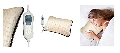 DV TECH Almohada Eléctrica Extra-Suave. 100W - Ideal para Dolores Lumbares, Cervicales, Inflamaciones. Color Beige.