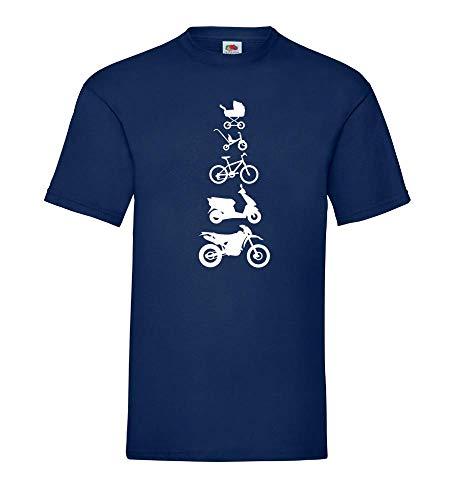 Generisch Motocicleta Enduro Evolution Frontal Hombres Camiseta - shirt84 - Azul Marino, 3XL