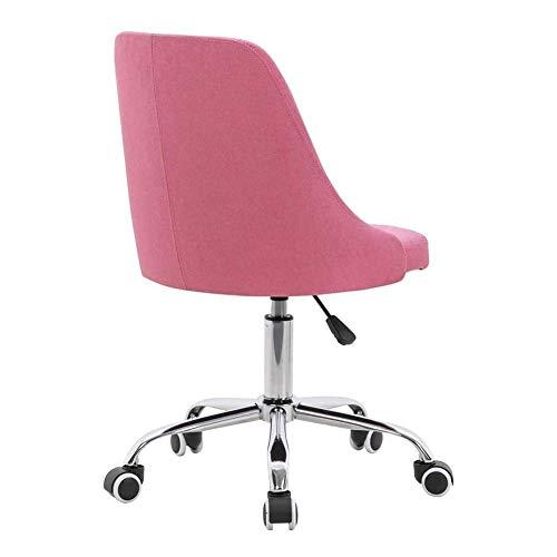 LILIS Silla de peluquería Sin Armas Inicio giratoria Ordenador Silla ergonómica Acolchada del Asiento de Altura Ajustable Tela Chrome Base (Color : Pink)