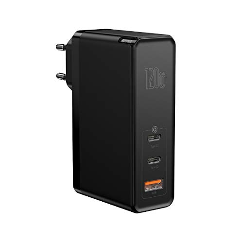Baseus Cargador USB C de 120W GaN, Cargador de pared USB 3.0 de Carga Rápida con Cable Tipo C Dual de 100W, Cargador de red USB de 3 Puertos para MacBook Pro, Portátiles USB C, iPhone, Galaxy Pixel.