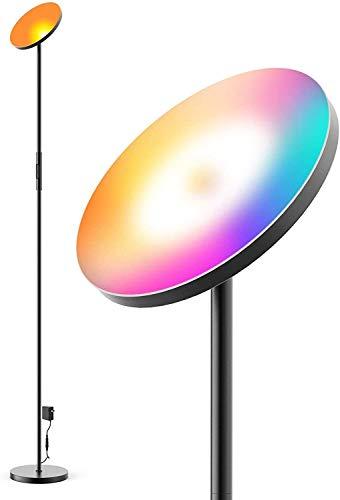 Lampada da terra a LED WiFi da 24 W, dimmerabile, RGB + CCT, compatibile con Alexa & Google Home, piantana da soffitto 24 W (nero), per soggiorno, camera da letto, ufficio, pub, hotel