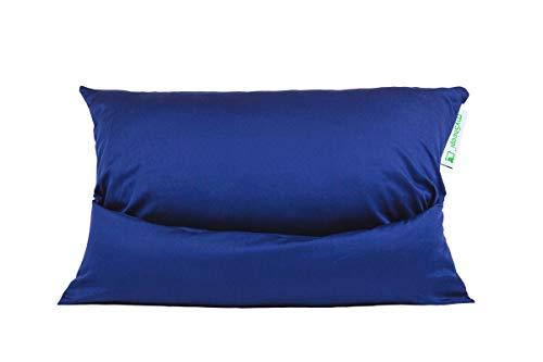mySheepi Kissenbezug Home - Kopfkissen-Bezug Aus 100% Baumwolle Für Nackenstützkissen - Blau, 80 x 40 cm