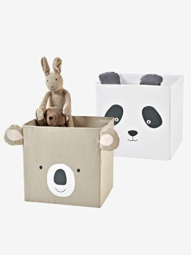 Vertbaudet 2 Stoff-Aufbewahrungsboxen, Kinderzimmer Taupe+helgrau ONE Size