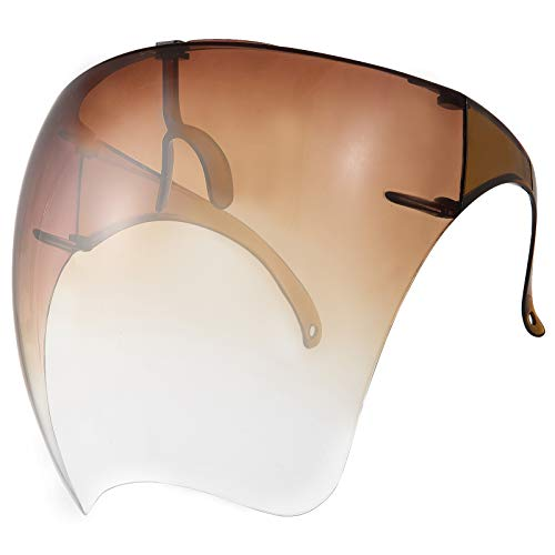 UV Resistant Face Mouth Shield with Nose Frame- Protective Full Face Cover Sun Visor Anti-fog Dustproof Facial Protector Summer Sun Protection Supplies for Unisex Adults Men Women Holiday Gift (Brown)