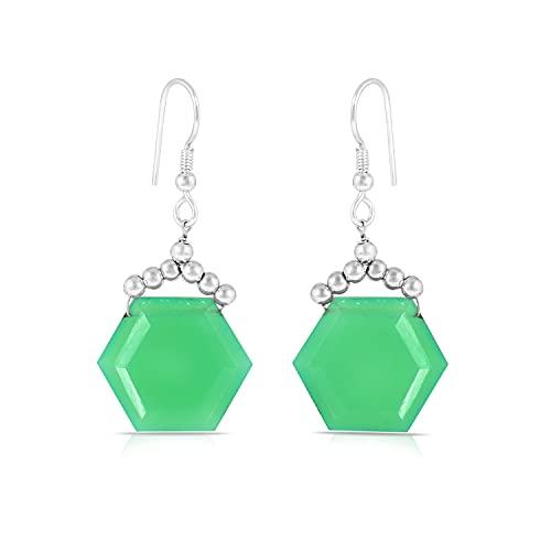 Gemshiner Calcedonia verde y arete de bola de plata con forma hexagonal y forma redonda de gancho colgante / colgante en plata de ley 925 para mujeres y niñas Perfact Gift Her