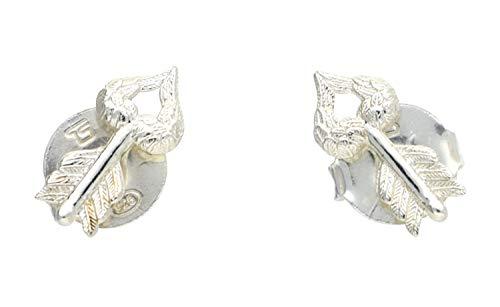 Thomas bloqueo H1785 - 001-12 pendientes de plata pendientes de plumas de flecha con resorte en forma de corazón
