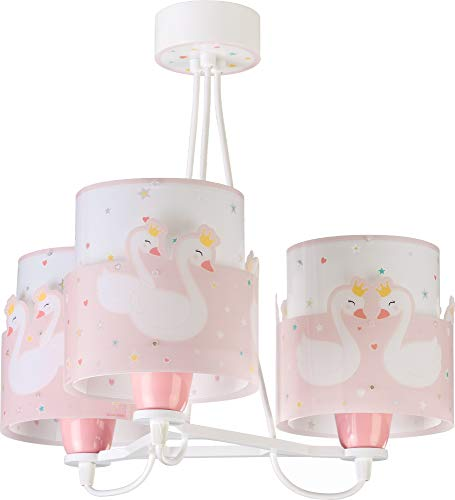 Dalber Sweet Love Lámpara Infantil de Techo 3 Luces Cisnes, 60 W,...