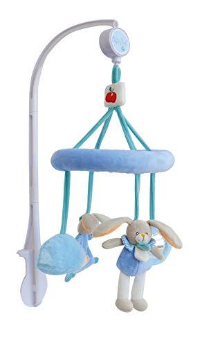 Baby Nat' - Mobile Musical Bébé Avec Peluche - Blanc/Rose - Cadeau Naissance - Lapin Pom - BN0258