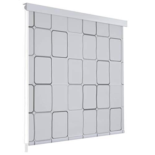 Festnight Cortina de Ducha Enrollable Persiana de Ducha Blanco Separador de Habitaciones para Baño con Diseño de Cuadrados 140x240cm
