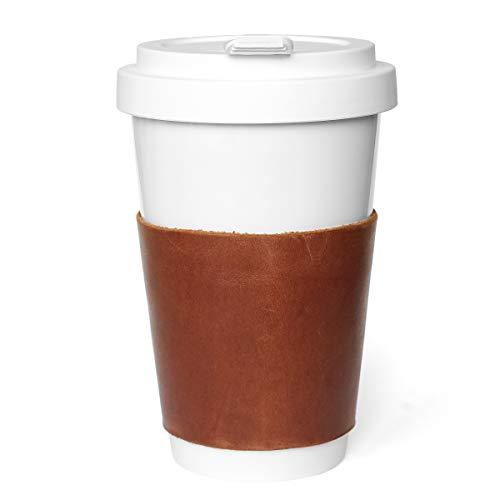 Aus Gnade Coffee to go Becher Porzellan Handmade Leder Manschette · Kaffeebecher to go Thermo Becher Leder 300ml (Cognac, Leder)