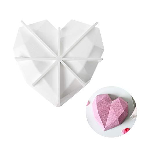 beicemania® Silikon Backform Herz 3d Kuchenform Silikon Herzform Silikon Diamond Herz für 18 cm Kuchen Weiß