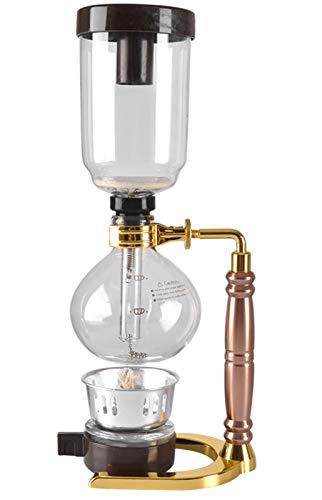 GWQDJ Siphon Kaffeemaschine Tee Siphon Topf Vakuum Kaffeemaschine Kaffeemaschine Filter Für 3 Personen Gold
