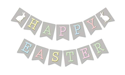 Happy Easter Banner, Easter Bunny Bunting Sign, Easter Spring Hanging Sign, Easter Party Decor