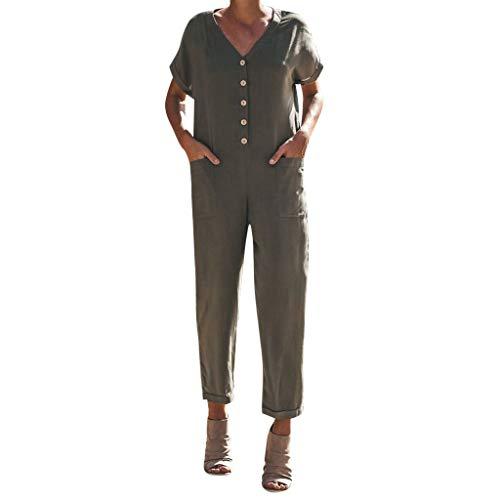 ZZXIAN Jumpsuits Damen Elegant Lang, Overalls Sommer Latzhose Leinen Bodysuit Yoga äRmellos Frauen Casual Romper Push Up (L(EU38), Armeegrün-3)