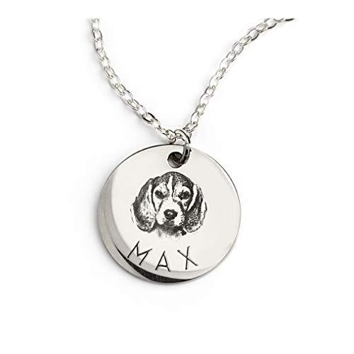 MignonandMignon Personalized Dog Necklace for Women Personalized Necklace Pet Gifts Custom Dog Jewelry Cat Gift Custom Portrait Grandma LCN-AP (Silver)