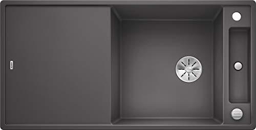 Blanco Axia III XL 6 S, Küchenspüle aus Silgranit PuraDur, reversibel, Felsgrau / mit InFino-Ablaufsystem, inklusiv Glasschneidbrett und Ablauffernbedienung; 523511