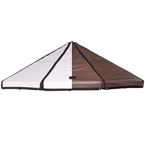 Advantek Pet 23254 8 Foot Outdoor Dog Gazebo Replacement Reversible Canopy Cover Tarp Umbrella Shade Top, Brown/White