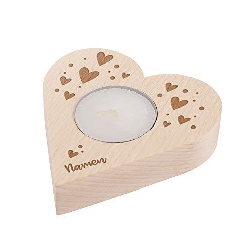 Herz & Heim® Teelichthalter mit Gravur in Herzform mit Ihren Namen Liebe