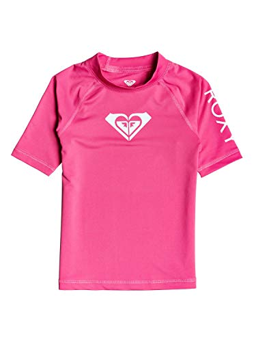 Roxy Kinder Whole Hearted - Kurzärmliger Rashguard mit UPF 50 für Mädchen 2-7 S/sl Surf Tee, pink Flambe, 4