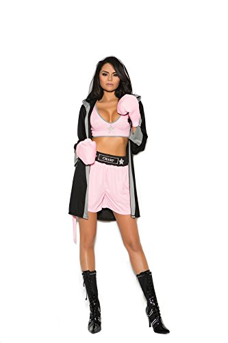 Zabeanco Prizefighter 4 Pc. Costume Includes Top, Shorts, Hooded Robe and Gloves Black/Pink