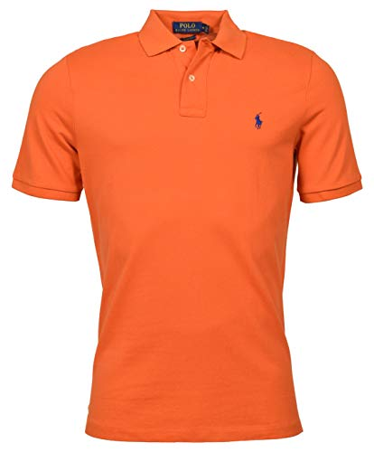 Polo Ralph Lauren Mens Classic Fit Polo Shirt (College Orange, Large)