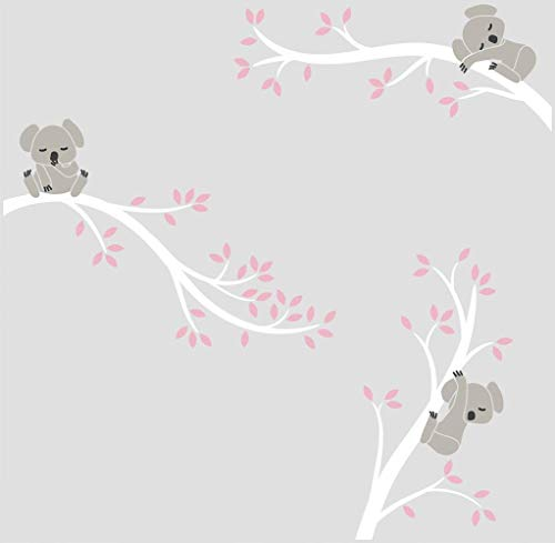 Sayala Koala Baum Wandtattoo-3 Lovely Koala on The Tree Wandaufkleber Wandsticker- Babyzimmer Tierwelt Baby Wandaufkleber Kleinkind Sticker Mädchenzimmer Wanddekor (Weiß)