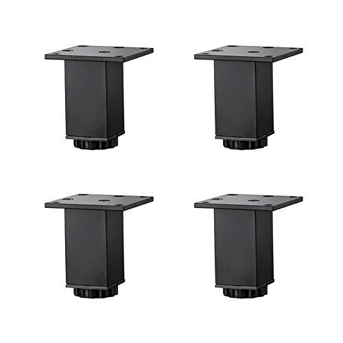 Patas para Muebles de Aleación de Aluminio de 0-15mm Ajustables en Altura,Patas de Mesa de Sofá Cuadradas,Patas de Gabinete de Baño de Lavabo,5-40cm,Negro Mate,4 Piezas (8cm/3.1in)