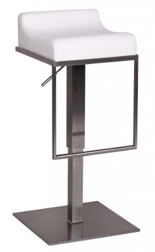 FineBuy Barhocker FB1277 Weiß Edelstahl höhenverstellbare Sitzhöhe 65-89 cm | Design Barstuhl mit Rückenlehne | Bistrohocker Barsitz Gepolstert | Thekenhocker für die Bar | Tresenstuhl Modern