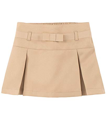 Nautica Girls' Toddler School Uniform Pleated Scooter with Pockets, Khaki/Bow, 4T