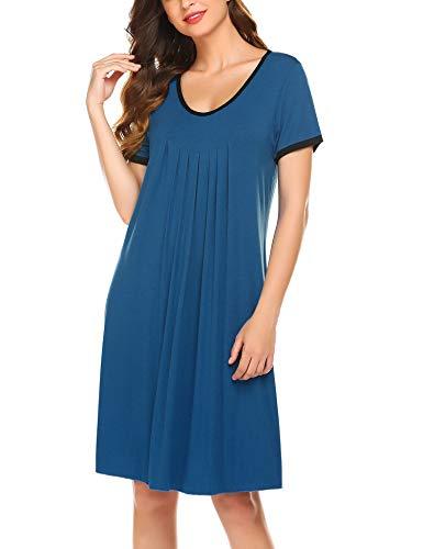 Ekouaer Plus Size Nightgowns Women Summer Short Sleeve Sleepwear Plain Dress New Nvay XXL