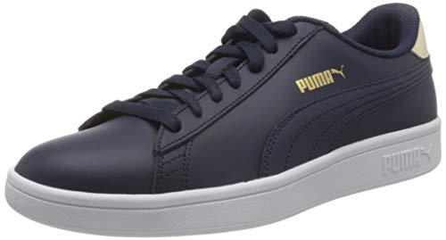 Puma Herren Smash v2 L Sneaker, Blau Peacoat Tapioca Team Gold White, 43 EU