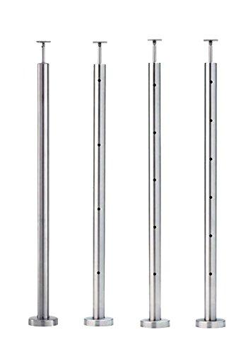 Geländerpfosten zur Aufsatzmontage V2A/AISI304 mit verstellbarer Rohraufnahme für Rohr 42,4mm (4 Bohrungen 9 mm)