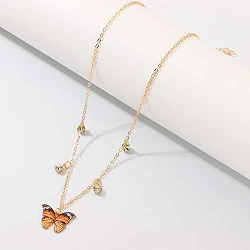 Lujo mujeres europeas mariposa colgante collares mujer colorido rhinestone cadena de oro simple gargantilla collar joyería para niñas