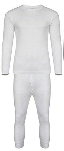 adam & eesa Mens thermisch ondergoed lange Johns onderbroek korte lange mouwen t-shirt top wit