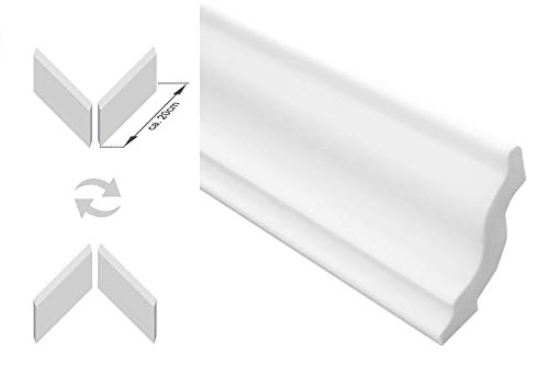 Zierleisten Sparpaket E-5-NK | inkl. vorgefertigte Ecken | leicht und stabil | extrudiertes Styropor | Stuckprofile | modern weiß | dekorativ | XPS | 40 x 45 mm | 30 Meter + 4 Ecken