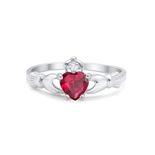 Blue Apple Co. Irish Claddagh Heart Promise Ring Simulated Red Ruby Round CZ 925 Sterling Silver, Size-9