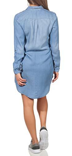 Vero Moda Vmsilla LS Short Dress Lt Bl Noos Ga Vestido, Azul (Light Blue Denim Light Blue Denim), 44 (Talla del Fabricante: X-Large) para Mujer