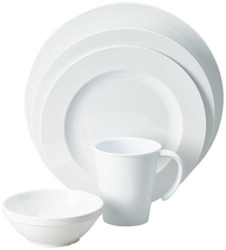 Ornamin Geschirrserie im eleganten Design weiß 5-teilig (Serie 1200) / Geschirr-Set Kunststoff