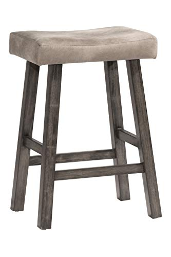 Hillsdale Furniture Saddle Counter Stool, Rustic Gray
