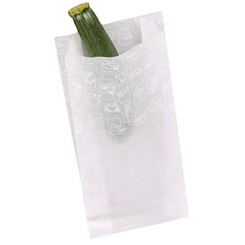 Wertpack 1000x Obstbeutel und Gemüsebeutel Greet weiß Papier transluzent 14+6x32 cm