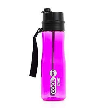 COOLDOT Bouteille d'eau purifiante par ozone écologique et éliminateur portable de bactéries et de virus, neutralisant les odeurs et le goût sans filtres Sin incassable and sans BPA BPS 750 ml (rose)